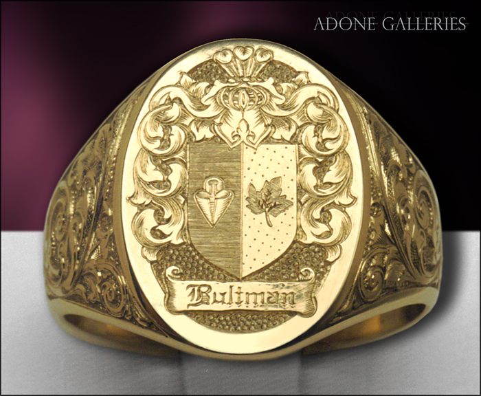 hand engraved crest ring