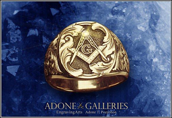 masonic signet rings  hand mason engraved ring  adone galleries